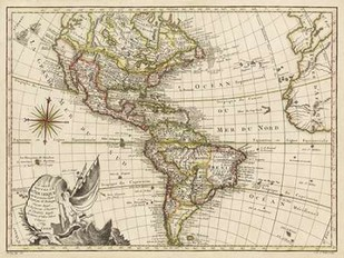 A New Map of America - 1769 Digital Print by Vallet,Decorative