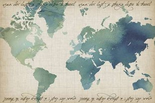 Watercolor World Map Digital Print by Popp, Grace,Decorative