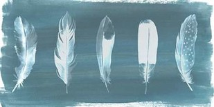 Feathers on Dusty Teal I Digital Print by Popp, Grace,Minimalism