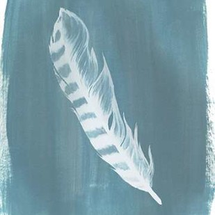 Feathers on Dusty Teal IV Digital Print by Popp, Grace,Minimalism