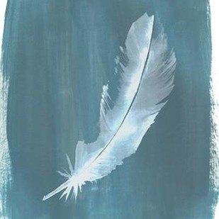 Feathers on Dusty Teal V Digital Print by Popp, Grace,Minimalism
