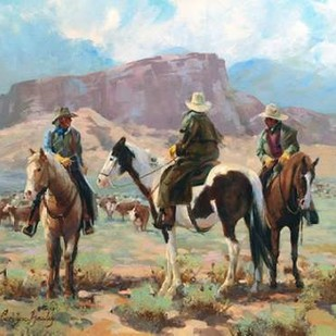Three Cowboys Digital Print by Hawley, Carolyne,Impressionism, Impressionism