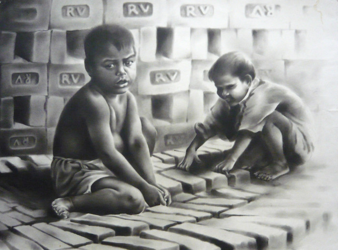Child Labor 1 by Chinmay Das, Impressionism Drawing, Charcoal on Paper, Gray color