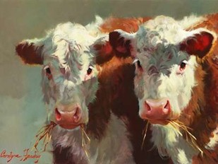 Cow Belles Digital Print by Hawley, Carolyne,Impressionism