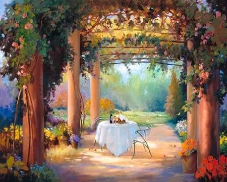 Vino al Fresco Digital Print by Hawley, Carolyne,Impressionism