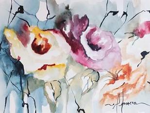 Blooms Aquas IV Digital Print by Leticia Herrera,Impressionism