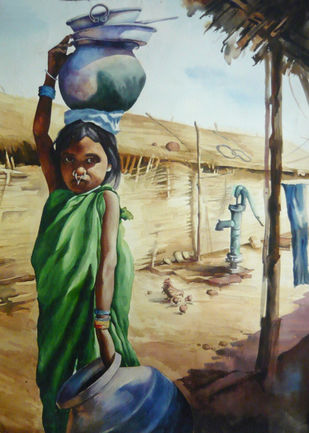 Child Labour 2 by Chinmay Das, Realism Painting, Watercolor on Paper, Beige color