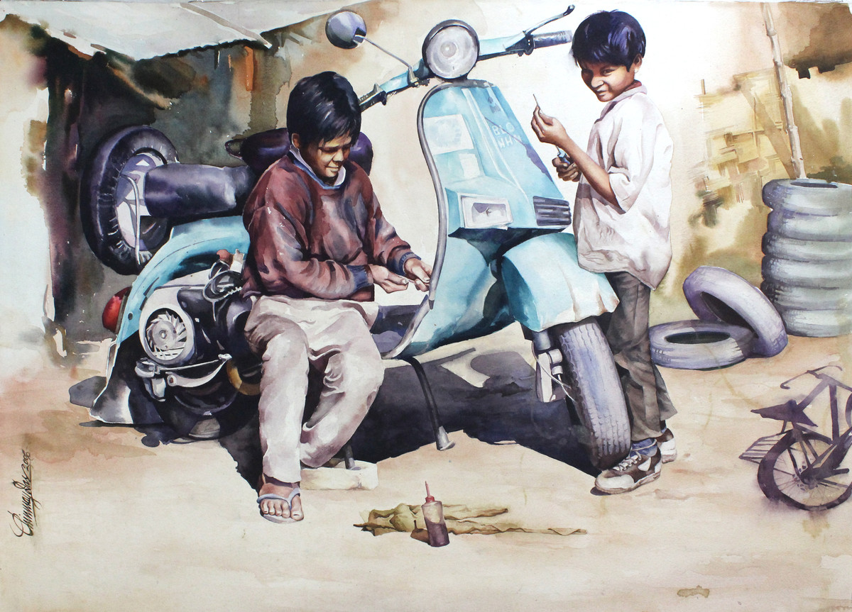 Child Labour 4 by Chinmay Das, Realism Painting, Watercolor on Paper, Gray color
