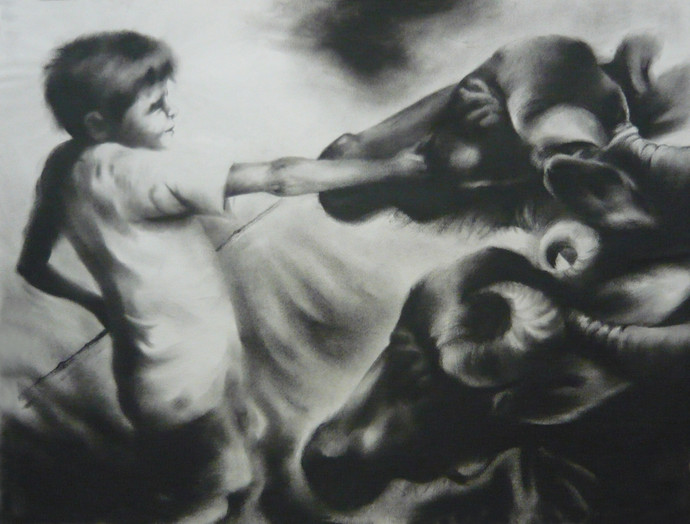 Child Labor 5 by Chinmay Das, Impressionism Drawing, Charcoal on Paper, Gray color