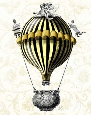 Baroque Balloon Black Yellow Digital Print by Fab Funky,Decorative
