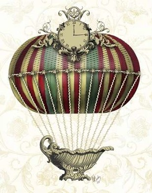 Baroque Balloon with Clock Digital Print by Fab Funky,Decorative