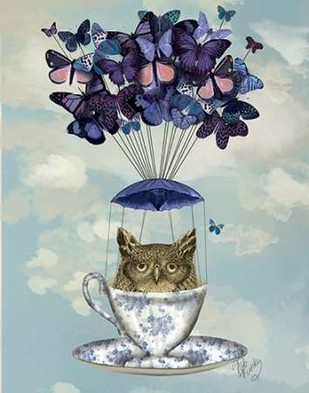 Owl In Teacup Digital Print by Fab Funky,Fantasy