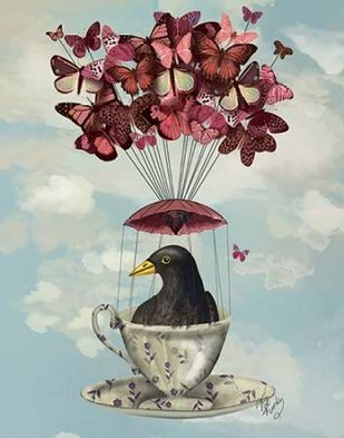 Blackbird In Teacup Digital Print by Fab Funky,Fantasy