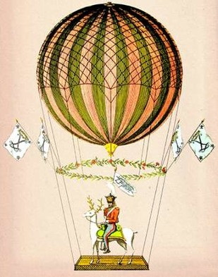 Hot Air Balloon Zephire Digital Print by Fab Funky,Decorative