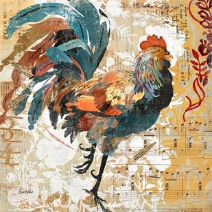 Rooster Flair I Digital Print by Evelia Designs,Impressionism