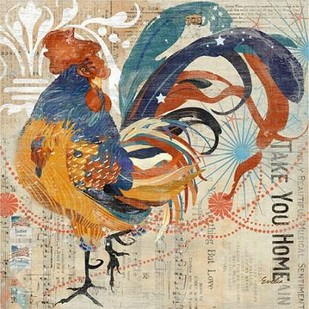 Rooster Flair IV Digital Print by Evelia Designs,Impressionism