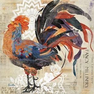 Rooster Flair V Digital Print by Evelia Designs,Impressionism