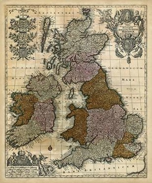 Map of England, Scotland & Ireland Digital Print by Unknown,Illustration