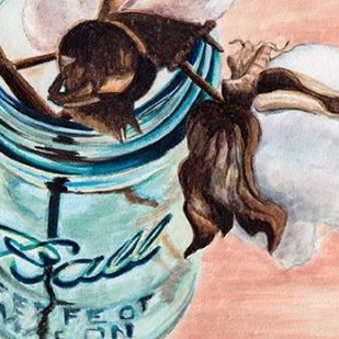 Ball Jar Flower V Digital Print by Redstreake,Impressionism