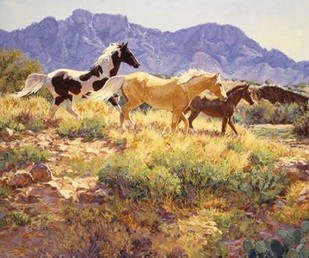 Horses at Big Wash Digital Print by Goldrick, Claire,Impressionism