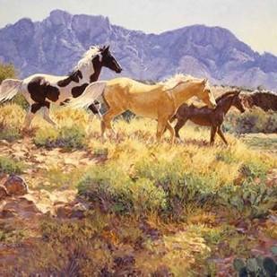 Horses at Big Wash Digital Print by Goldrick, Claire,Impressionism