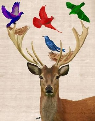 Deer and Birds Nests Digital Print by Fab Funky,Fantasy