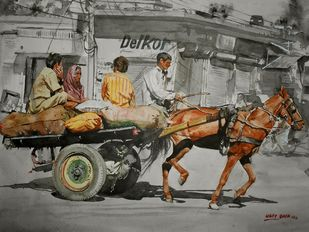 Horse Cart by Uday Bhan, Realism Painting, Watercolor on Paper, Gray color