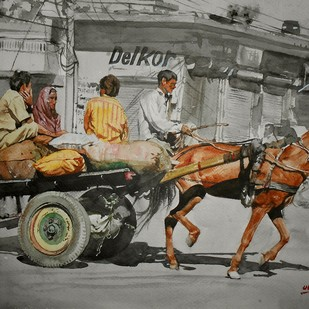 Horse Cart Digital Print by Uday Bhan,Realism