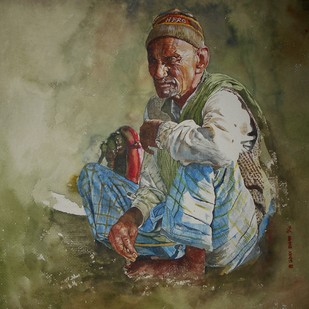 Old Man by Uday Bhan, Realism Painting, Watercolor on Paper, Green color