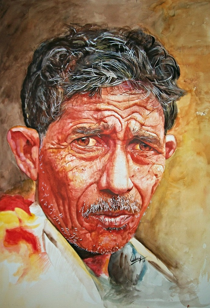 Toughness by Uday Bhan, Realism Painting, Watercolor on Paper, Brown color