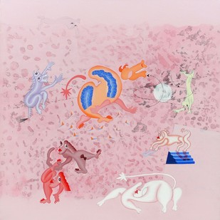 Precious Moments 2 by Faiyyaz Khan, Conceptual Painting, Acrylic & Ink on Canvas, Pink color