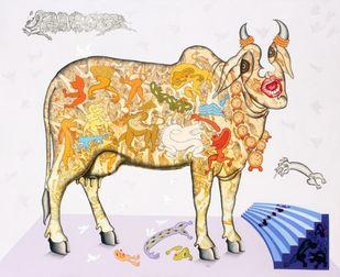 Jeevan Ek Rangmanch (Theatre) by Faiyyaz Khan, Conceptual Painting, Acrylic & Ink on Canvas, Gray color