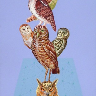 Ullu Hi Ullu 1 by Faiyyaz Khan, Conceptual Painting, Acrylic on Canvas, Cyan color