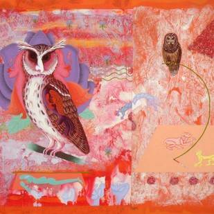 Ullu Hi Ullu 2 by Faiyyaz Khan, Conceptual Painting, Acrylic on Canvas, Pink color
