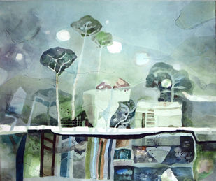 Dreamland by Chandidas Bhattacharya, Conceptual Painting, Watercolor on Paper, Green color