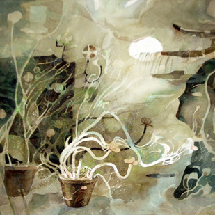 My Window by Chandidas Bhattacharya, Conceptual Painting, Watercolor Wash on Paper, Beige color
