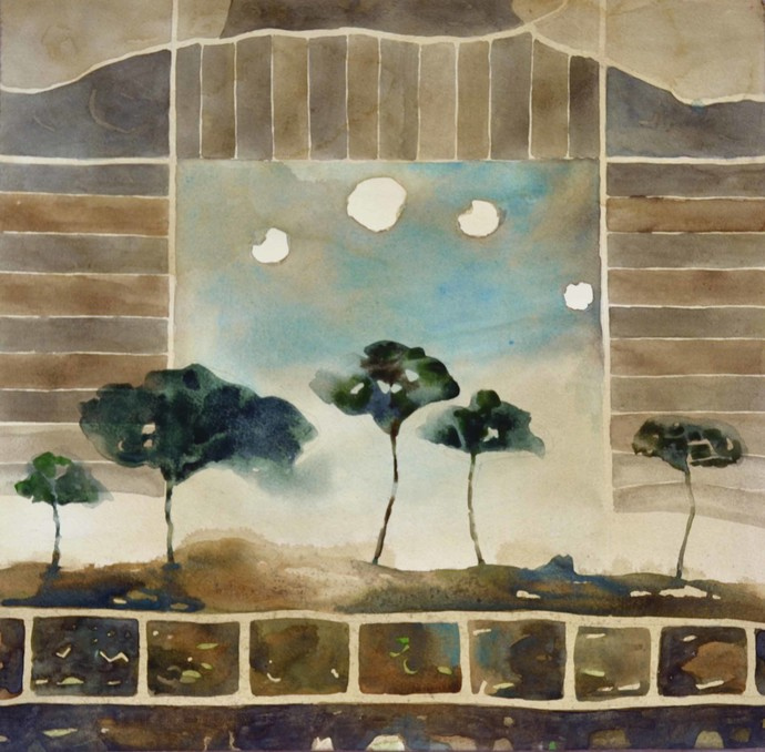 Landscape 1 by Chandidas Bhattacharya, Conceptual Painting, Watercolor Wash on Paper, Brown color