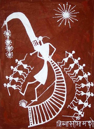 Warli Painting by Jivya Soma Mashe, Tribal Painting, Cow dung on Cloth, Brown color