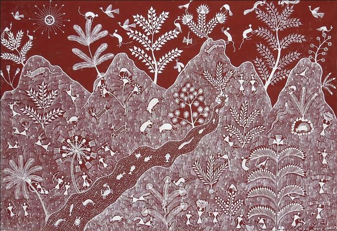 Warli painting by artist sanjay parad tribal painting mojarto warli painting altavistaventures Gallery