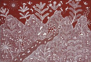 Warli Painting by Sanjay Parad, Tribal Painting, Cow dung on Cloth, Brown color