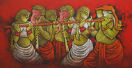 Music 4 by Satyajeet Shinde, Decorative Painting, Acrylic on Canvas, Brown color
