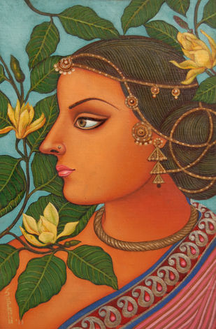 Nyika With Kanak Champa by Suparna Dey, Realism , Oil on Canvas, Brown color