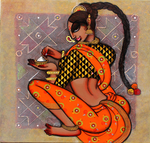 Rangoli by Varsha Kharatmal, Traditional Painting, Acrylic on Canvas, Brown color