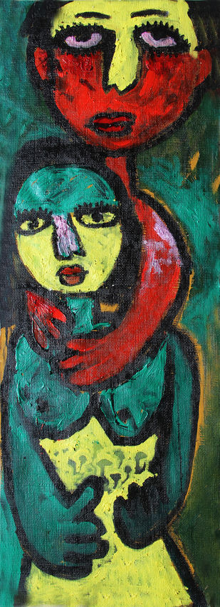 Untitled 5 by Sweeta Rai, Expressionism Painting, Acrylic on Paper, Green color