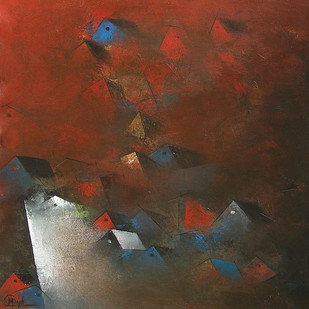 Distant View Of A Village by M Singh, Impressionism Painting, Acrylic on Canvas, Brown color