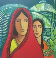 Mother And Daughter by Nagesh Ghodke, Decorative Painting, Acrylic on Canvas, Brown color