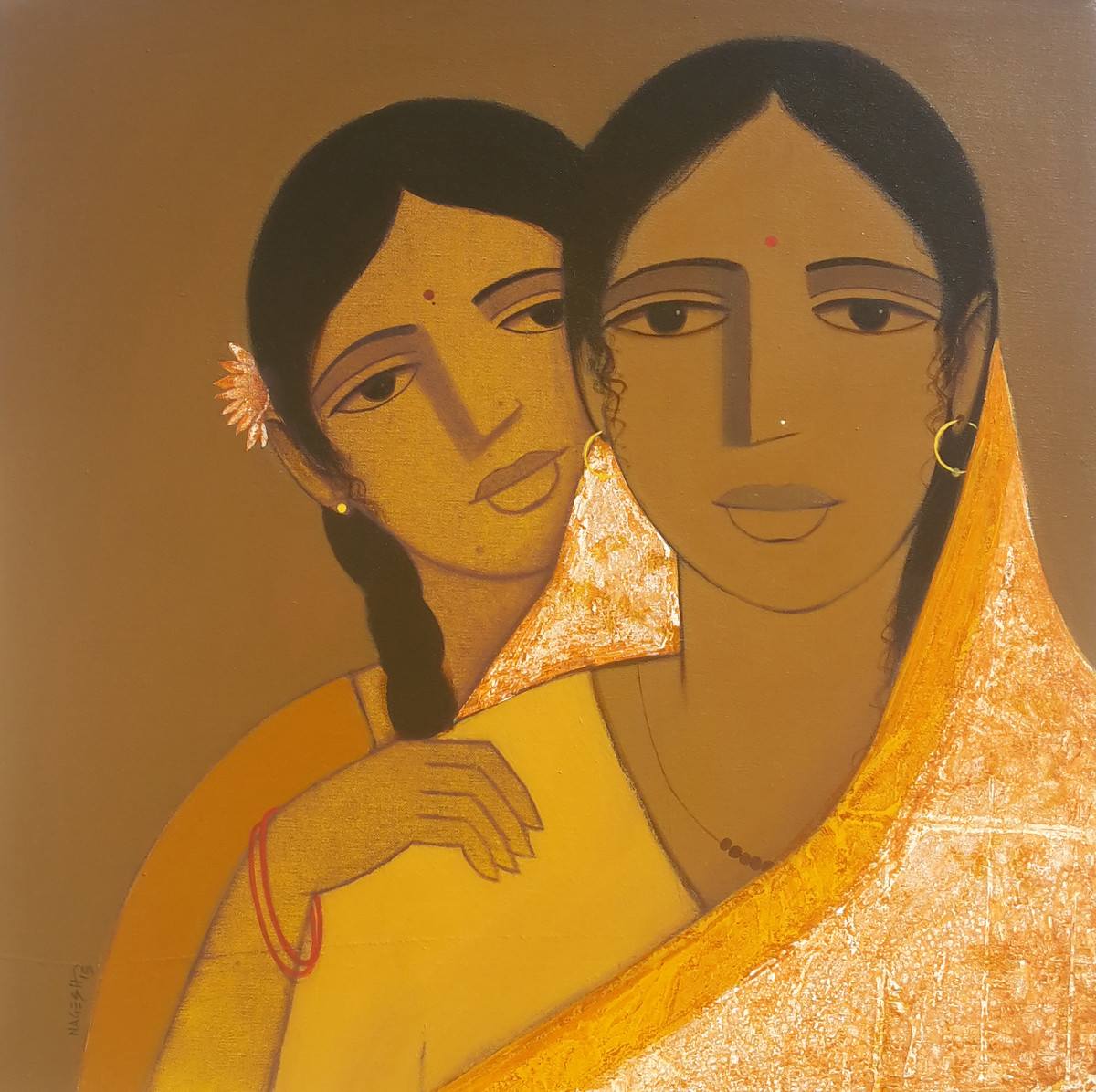 Mother And Daughter I by Nagesh Ghodke, Decorative Painting, Acrylic on Canvas, Brown color