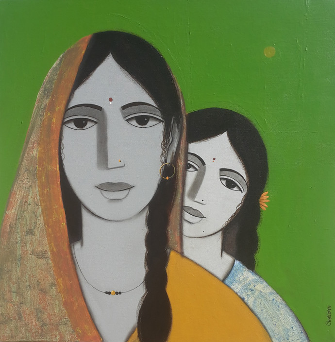 Mother And Daughter II by Nagesh Ghodke, Decorative Painting, Acrylic on Canvas, Green color