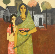 Mother And Daughter III by Nagesh Ghodke, Decorative Painting, Acrylic on Canvas, Brown color