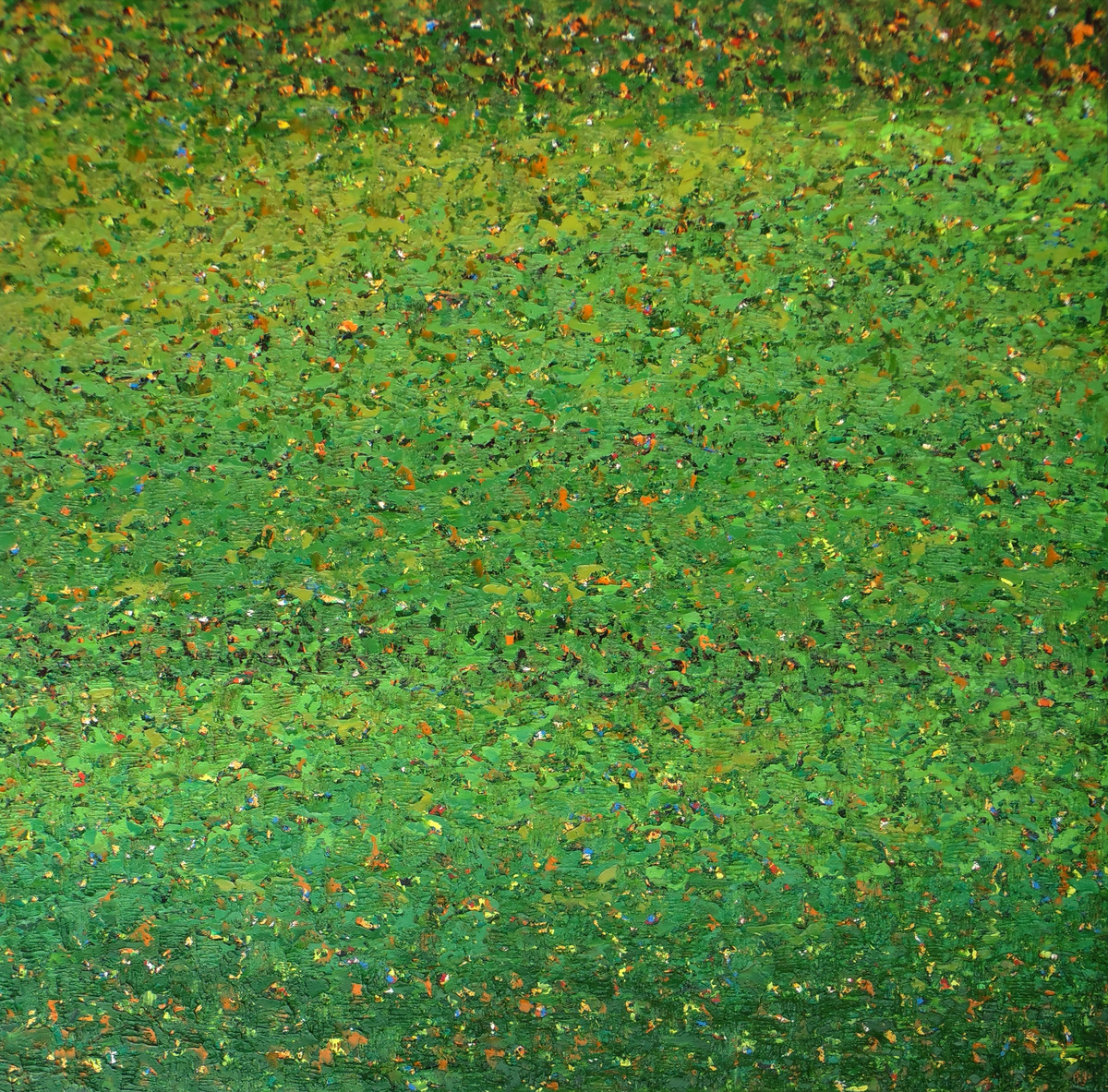 Untitled by Vinitkumar Sute, Abstract Painting, Oil on Canvas, Green color